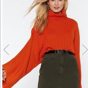 Orange cowl neck crop sweater